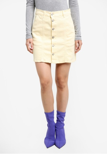 Mango yellow Buttoned Denim Skirt MA193AA0RXT4MY_1