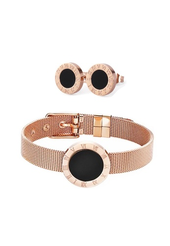 CELOVIS black and gold CELOVIS - Cadence Roman Numeral in Black Bracelet + Earrings Set 17B27AC9835178GS_1