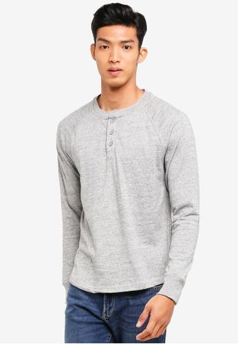 GAP grey Marled Henley T-Shirt BA11BAA8742915GS_1