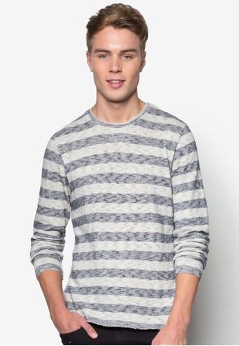 條紋圓領長esprit outlet 旺角袖衫, 服飾, 服飾