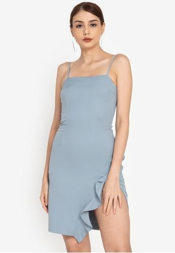 ZALORA OCCASION blue Cami Ruffle Mini Dress 4A06AAA5160419GS_1