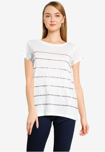 Springfield white Sequins Striped T-Shirt D8150AA52B882DGS_1