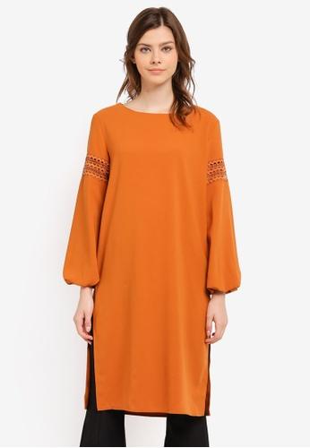 Zalia orange Lace Trim Long Top 46A07AAF2F5F86GS_1
