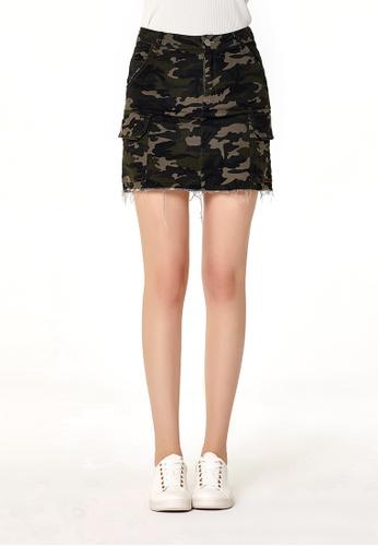 London Rag green Olive Camouflage Rugged A Line Mini Skirt B65AEAA5A573B0GS_1