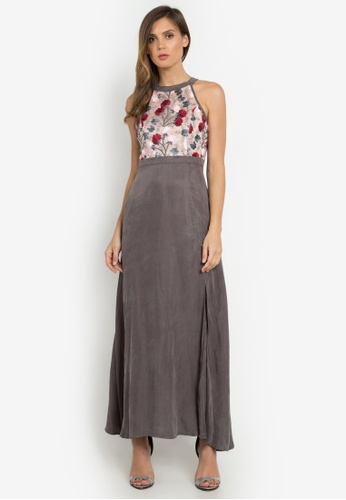 NOBASIC grey Leia Floral Maxi Dress NO444AA0FP5QSG_1
