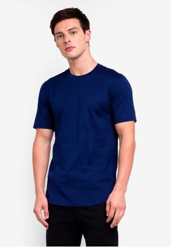UniqTee 海軍藍色 圓領上衣 02844AAB7E41EAGS_1