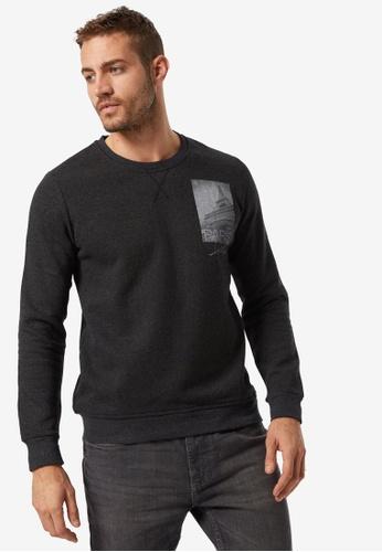 Burton Menswear London grey Paris Print Crew Sweatshirt B49BEAA35B20A9GS_1