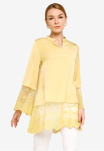 Gene Martino yellow Muslimah Lace Top D4BB2AA354A4AAGS_1