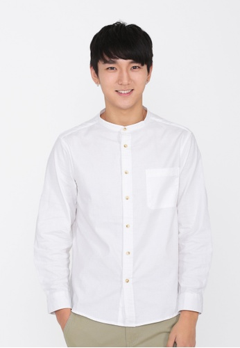 A for Arcade white Lennon Band Collar Shirt in White 9B06AAAD2D7DB1GS_1