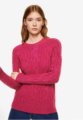 Mango pink Cable-Knit Sweater 11BF4AA7738EBAGS_1