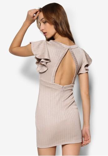 羅紋鏤空esprit hk outlet短袖連身裙, 服飾, 服飾