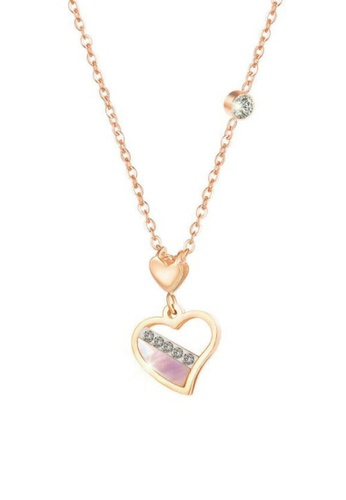 CELOVIS gold CELOVIS - Aiko Heart of Mother Pearl with Zirconia Pendant Necklace in Rose Gold 17C87AC6016409GS_1
