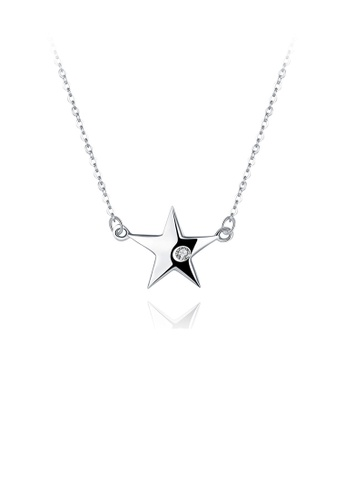 Glamorousky white 925 Sterling Silver Simple Star Necklace with Austrian Element Crystal D2B18AC82F127AGS_1