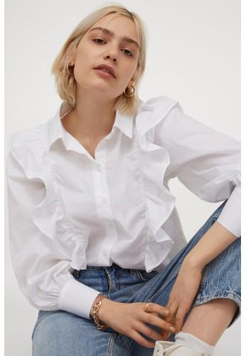 H&M white Flounced cotton shirt E776CAA74479CFGS_1