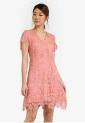 Something Borrowed pink Lace V-Neck Fit And Flare Dress C1BACAAFF15653GS_1