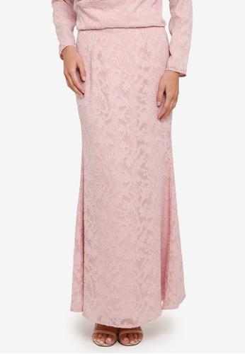 Zalia 粉紅色 Textured Floral Mermaid Skirt 448E9AA9D31B43GS_1