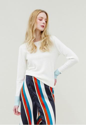 KLAPS white Round Neck Cashmere Sweater 89F4CAAFF5E0C1GS_1
