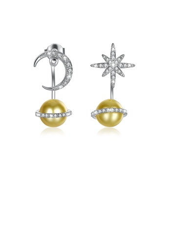 Glamorousky silver 925 Sterling Silver  Fashion Sparkling  Planet Stars and Moon Earrings with Golden Pearl and Austrian Element Crystal 32370ACB6778BDGS_1