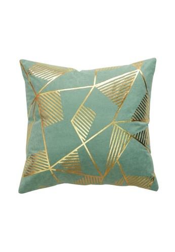 DILAS HOME Geometric Gold Print Cushion Cover (Dusty green) B91EFHL632FBF2GS_1