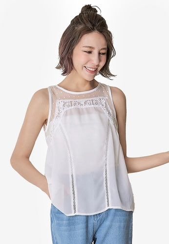 dc1a93ea61d Shop Kodz Sleeveless Lace Insert Blouse Online on ZALORA Philippines