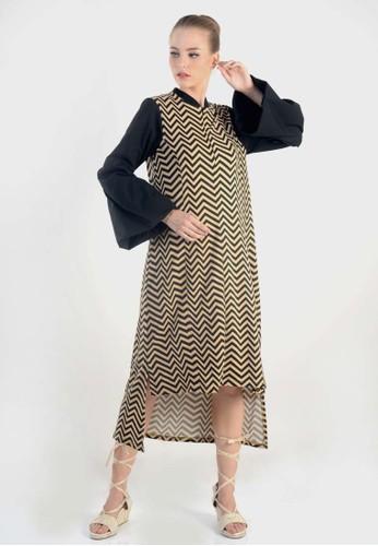 Beyounique black Puffy Sleeve Asymetry Hem Midi Dress 1D22AAAE0F8D9BGS_1