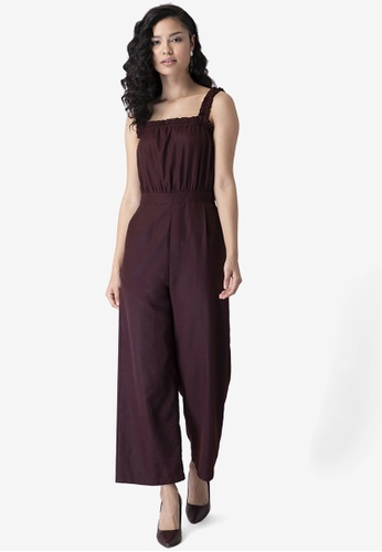 FabAlley purple Wine Strappy Frilled Jumpsuit 0D58CAA7AEFBBFGS_1