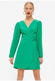 2f62fed034285 TOPSHOP green Petite Crepe Wrap Mini Dress E57D8AAEDF96B7GS_1