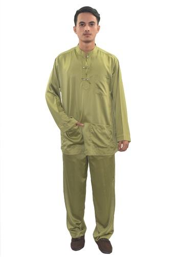 Denai Boutique green Baju Melayu Zeid 89803AA9DDA8F8GS_1