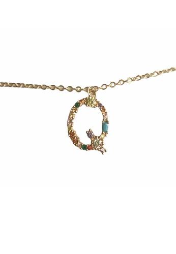 CINDERTOELLA gold Cindertoella Initial Alphabet Letter Q Zircon Stone Pendant 18K Gold Plated Necklace ABD18AC2F63FA1GS_1