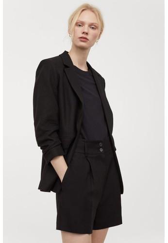 H&M black Linen-blend jacket 2606CAADF34D92GS_1