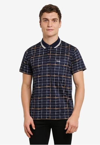 BGM POLO blue Printed Polo Shirt BG646AA0S0KZMY_1