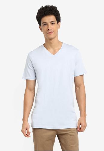 Cotton On 藍色 休閒素色V領T恤 39172AA0EC767CGS_1