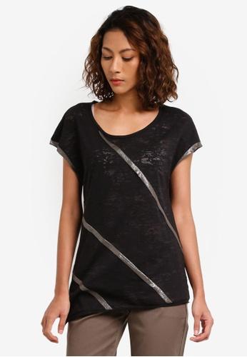 Sisley black Contrast Metallic T-Shirt E1F6FAA4B75F9BGS 1 2a1e740bb