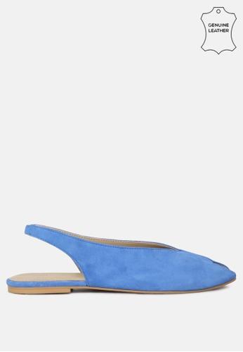 RAG & CO blue Leather Flat Sandals with Sligback Adjustable Buckle C833BSHBF77FEDGS_1