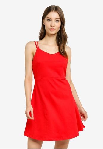 UniqTee red Strappy Mini Dress 58DCDAA76B03B4GS_1