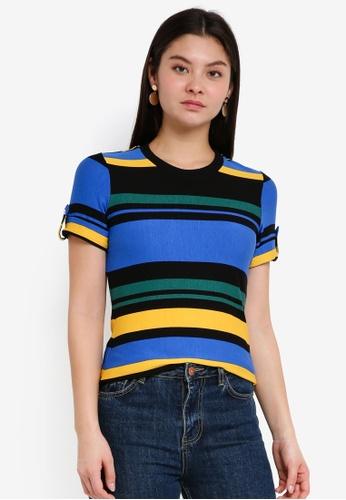 Dorothy Perkins multi Multi Stripe Button Shoulder Top 31676AA34C56E7GS_1