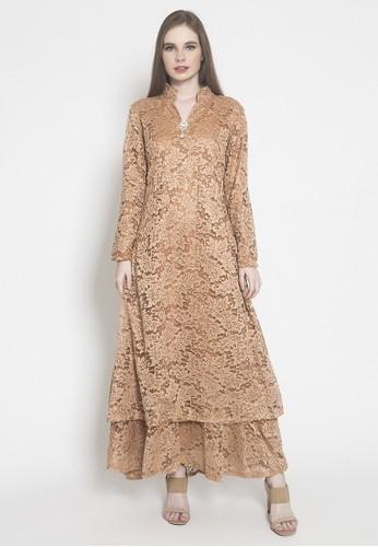 Kasa Heritage brown Hala Dress - Brown 8778BAAADC915FGS_1