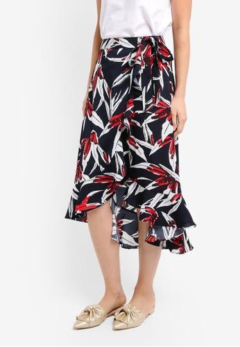 ZALORA navy Midi Wrap Skirt With Ruffle Hem 7953AAADF8C712GS_1