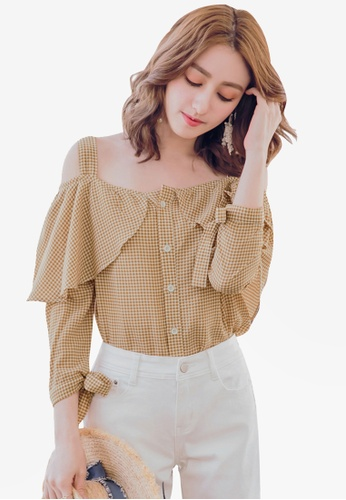 Yoco brown Gingham Off-Shoulder Buttoned Blouse 49AA4AA86503CDGS_1