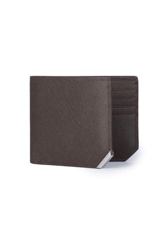 Crudo Leather Craft 褐色 Affilato Edge 輕薄短銀包 - 十字紋雅典啡  (卡位間隔) C9FB3AC352F68FGS_1
