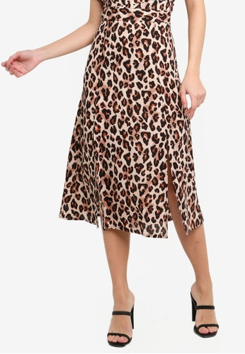 FORCAST brown Mandy Front Split Skirt 8A177AA9A413BBGS_1