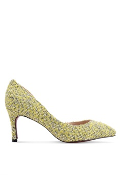 909622f9f14 Nose yellow Tweed Half D Orsay Heel Pumps 7AEC8SHE8E51F2GS 1