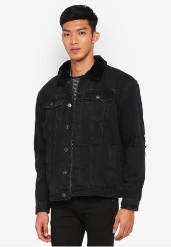 Cotton On 黑色 刷毛時尚牛仔外套 AC4DFAAE6B6738GS_1