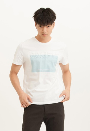 H:CONNECT white CONNECT Stereoscopic Texture Color Block T-Shirt A0866AA3CE92A2GS_1