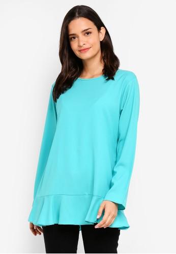 Aqeela Muslimah Wear green and blue Ruffled Back Button Top 5A58FAA6EAECCEGS_1