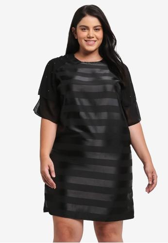 ELVI black Plus Size Black Stripe Satin Dress EL779AA0T1PBMY_1