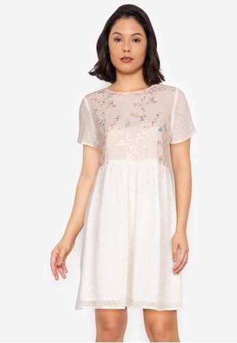 ZALORA BASICS 白色 Embroidery Smock Dress DA6FDAA7084982GS_1