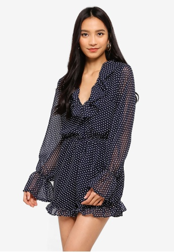 MISSGUIDED navy Polka Dot Ruffle Swing Playsuit E1CFDAA9A9C324GS_1