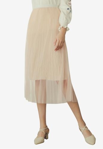 Eyescream pink Layered Mesh Midi Skirt BD0F8AAD2751D8GS_1