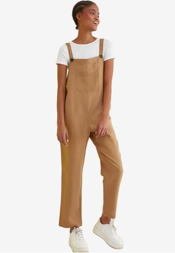 Trendyol brown Sleeveless Jumpsuit 0D05FAAB738165GS_1